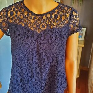 Monteau Blue Lace Blouse